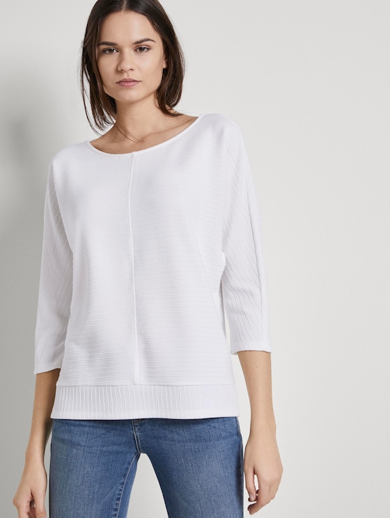 Sweatshirt mit Ottoman-Struktur - Frauen - Whisper White - 5 - TOM TAILOR