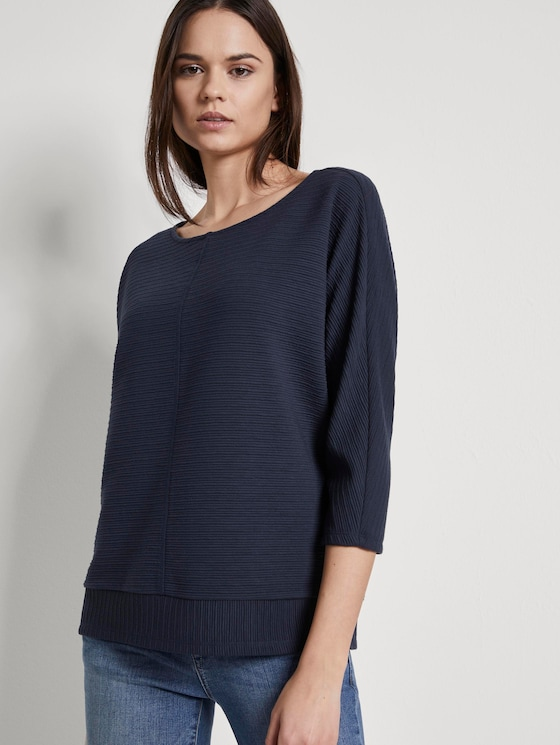 Sweatshirt mit Ottoman-Struktur - Frauen - Sky Captain Blue - 5 - TOM TAILOR