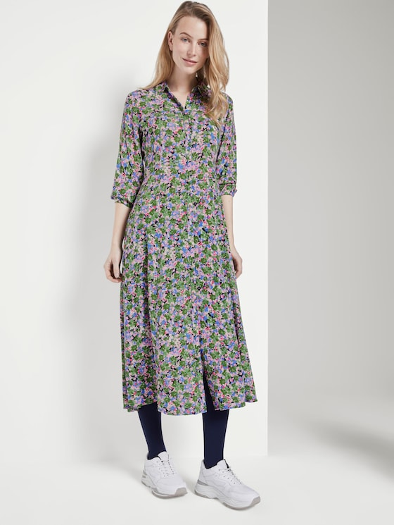 Midi Hemdkleid mit floralem Muster - Frauen - colorful floral design - 5 - TOM TAILOR