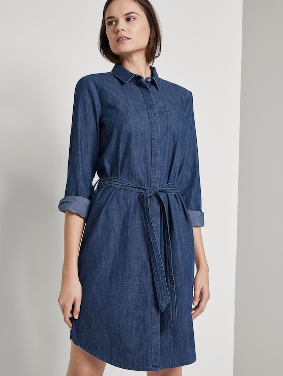 Mini denim dress with a tie belt - Women - dark stone wash denim - 5 - TOM TAILOR