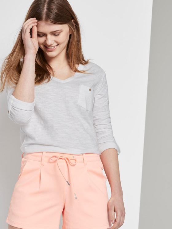 T-Shirt mit V-Ausschnitt - Frauen - Off White - 5 - TOM TAILOR Denim