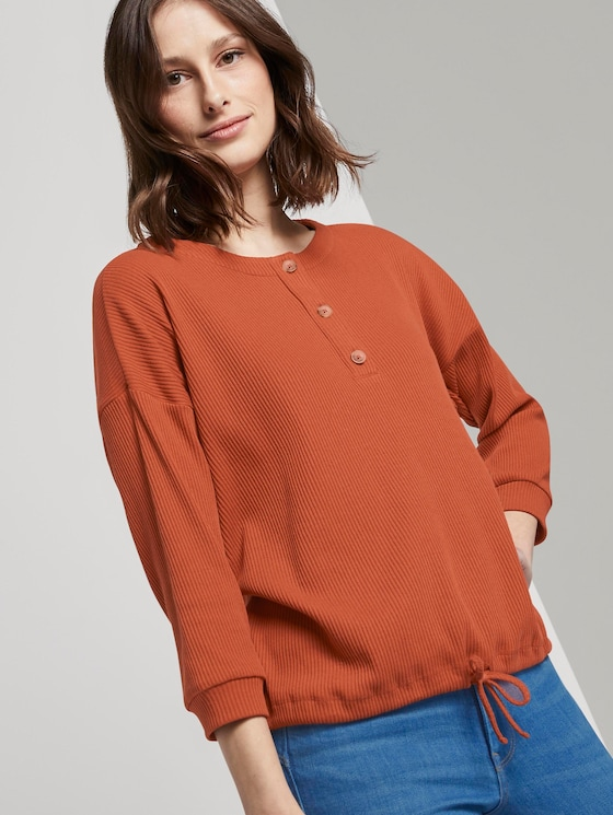 Geripptes Langarmshirt mit Knopfleiste - Frauen - fox orange - 5 - TOM TAILOR Denim