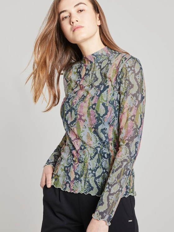 Long-sleeved top with a snake print - Women - colourful snake print - 5 - TOM TAILOR Denim