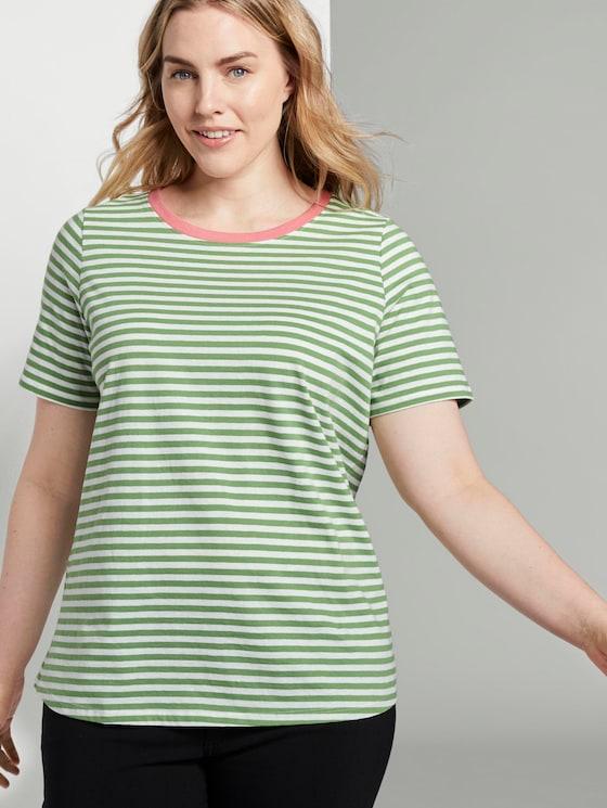 Gestreiftes T-Shirt mit Kontrastblende - Frauen - green stripe - 5 - My True Me