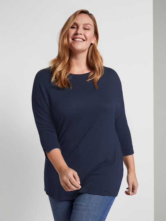 T-shirt with bat sleeves - Women - Real Navy Blue - 5 - My True Me