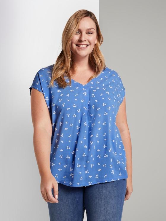 Gemustertes T-Shirt aus Materialmix - Frauen - light blue flower print - 5 - My True Me