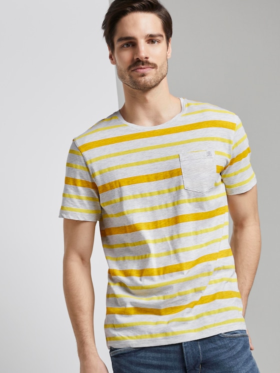 Gestreiftes T-Shirt - Männer - yellow printed stripe - 5 - TOM TAILOR