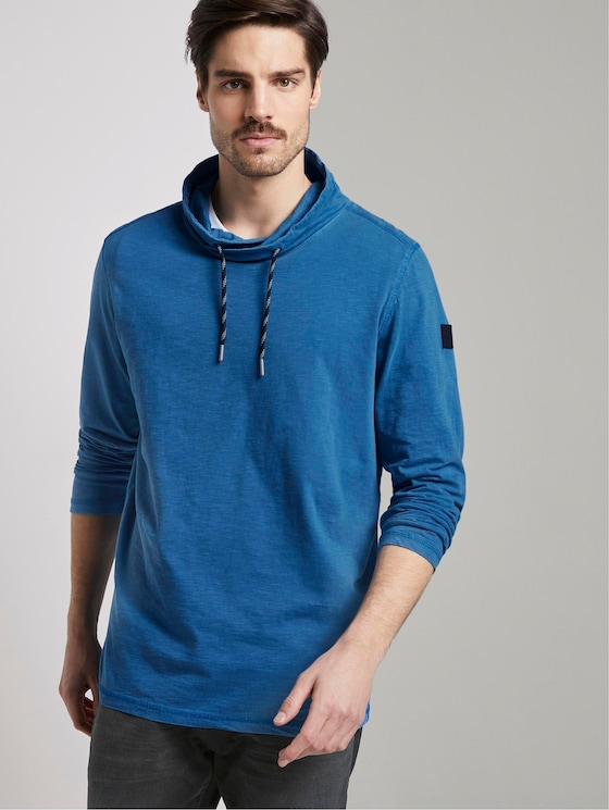 Long-sleeved top with a tubular collar - Men - victory blue - 5 - TOM TAILOR