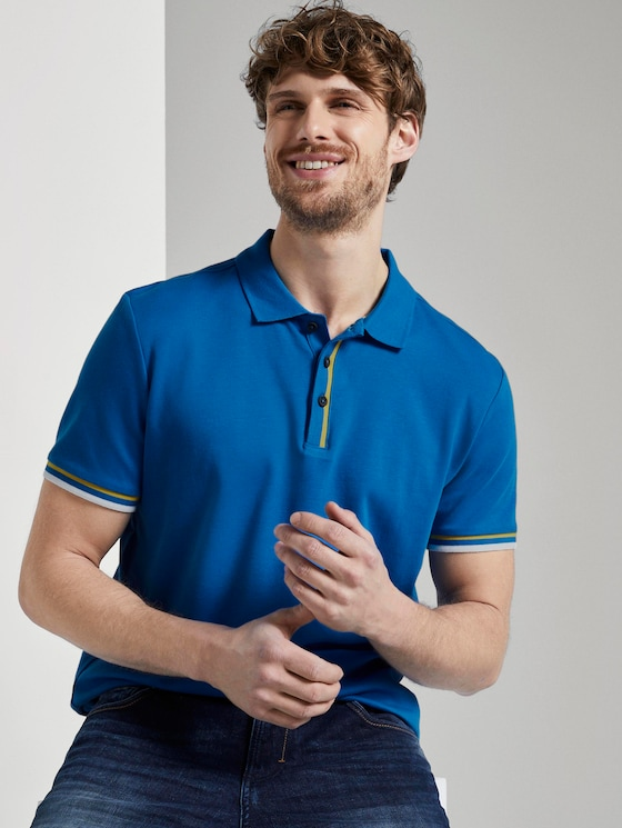 Polo shirt with a striped rib trim - Men - victory blue - 5 - TOM TAILOR