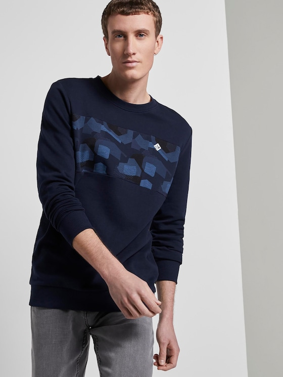 Sweatshirt mit Print - Männer - Sky Captain Blue - 5 - TOM TAILOR Denim