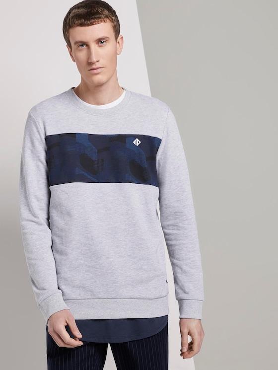 Sweatshirt mit Print - Männer - Light Stone Grey Melange - 5 - TOM TAILOR Denim