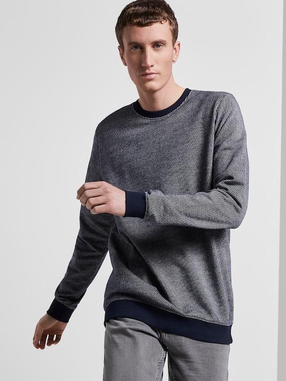 Strukturiertes Sweatshirt - Männer - navy stripy structure - 5 - TOM TAILOR Denim