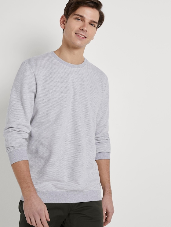 Strukturiertes Sweatshirt - Männer - grey stripy structure - 5 - TOM TAILOR Denim