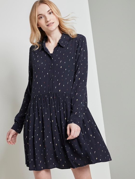 Gemustertes Mini Blusenkleid - Frauen - navy minimal print - 5 - TOM TAILOR Denim