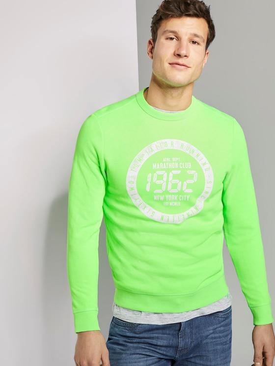 Strukturiertes Sweatshirt mit Marathon-Print - Männer - neon green white melange - 5 - TOM TAILOR