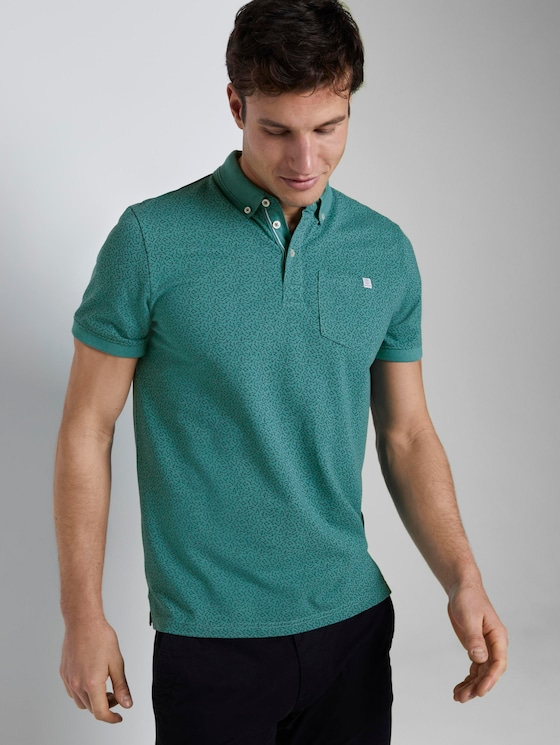 Gemustertes Poloshirt - Männer - ever green white melange - 5 - TOM TAILOR