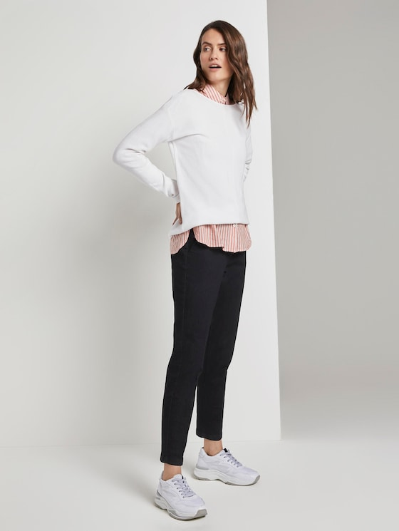 Mia slim trousers with an elastic tape waistband - Women - Clean Rinsed Blue Denim - 3 - TOM TAILOR