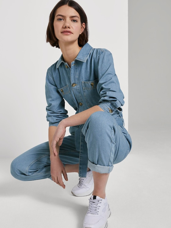 Jeans Jumpsuit - Frauen - Used Mid Stone Blue Denim - 5 - TOM TAILOR Denim