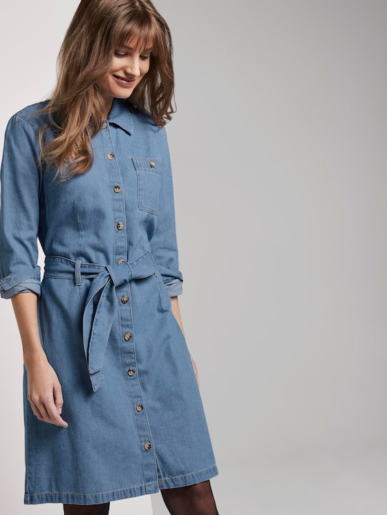 Mini Jeanskleid - Frauen - Used Mid Stone Blue Denim - 5 - TOM TAILOR Denim