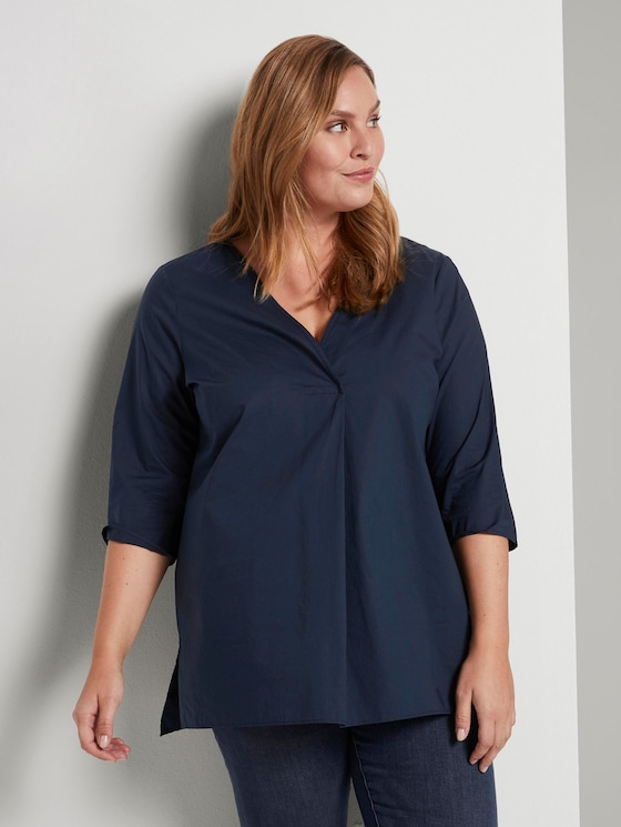 Lockere Bluse mit Falte - Frauen - Real Navy Blue - 5 - My True Me