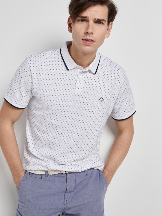 Patterned polo shirt - Men - white small diamond dot print - 5 - TOM TAILOR Denim