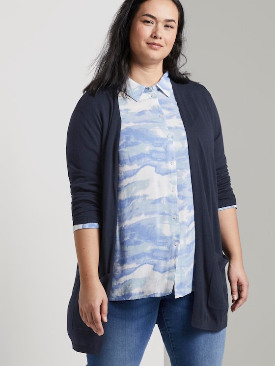 Long cardigan with pockets - Women - Real Navy Blue - 5 - My True Me