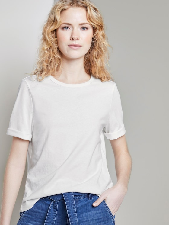 Schlichtes T-Shirt - Frauen - Whisper White - 5 - TOM TAILOR