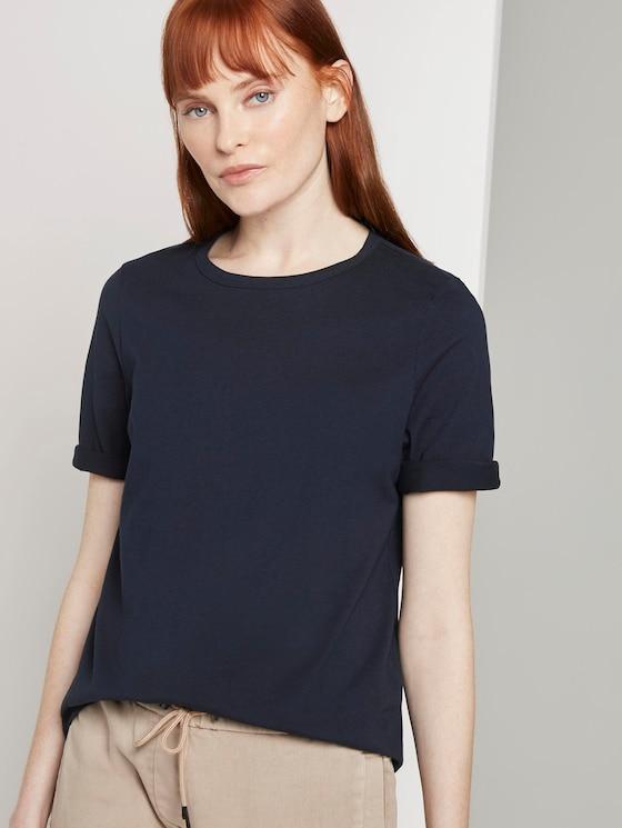 Schlichtes T-Shirt - Frauen - Sky Captain Blue - 5 - TOM TAILOR