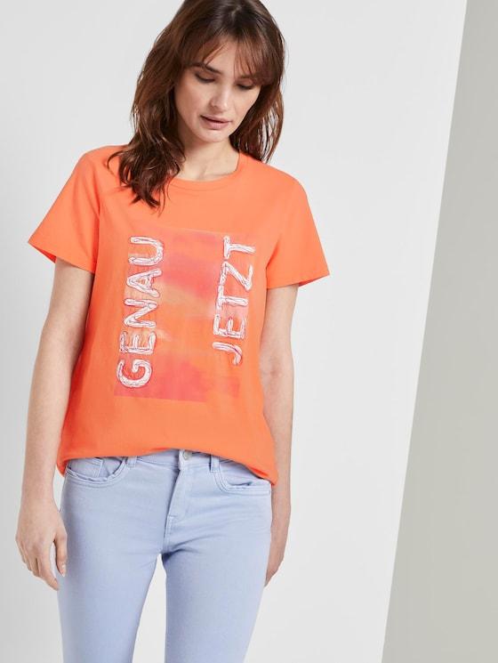 T-Shirt mit Schrift-Print - Frauen - fruity melon orange - 5 - TOM TAILOR