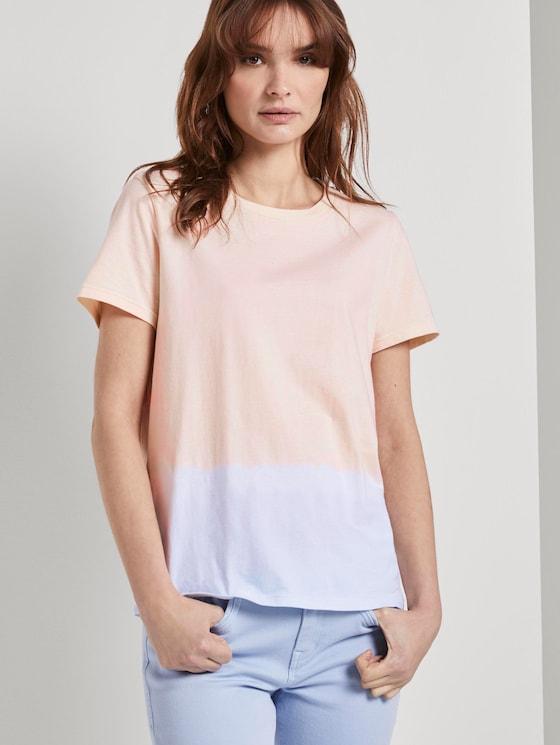 T-Shirt mit Batik-Look - Frauen - blue beige dip dye - 5 - TOM TAILOR