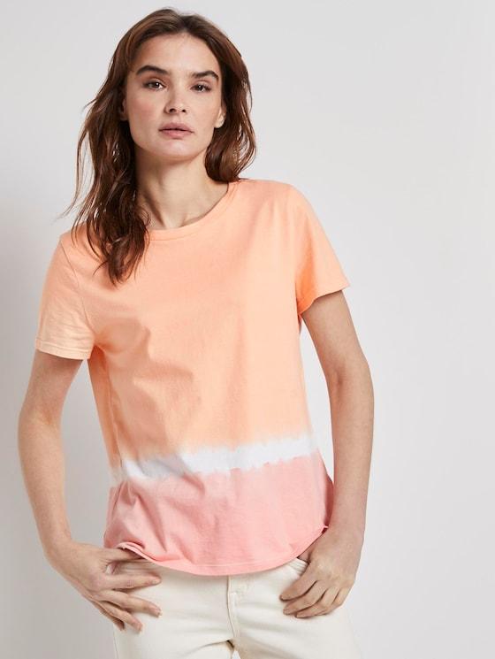 T-Shirt mit Batik-Look - Frauen - melon pink dip dye - 5 - TOM TAILOR