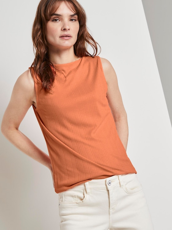 Nena & Larissa: Top with a stand-up collar - Women - fruity melon orange - 5 - TOM TAILOR