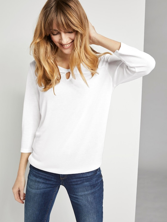 T-Shirt mit Cut-Out - Frauen - Whisper White - 5 - TOM TAILOR