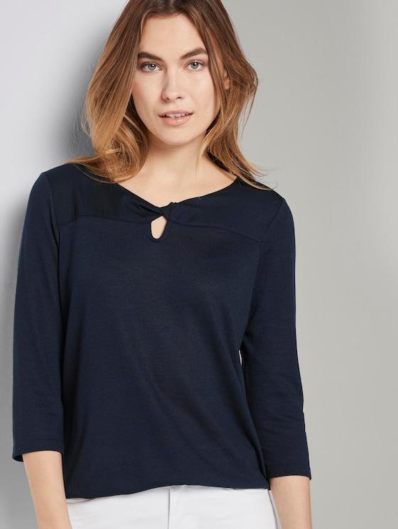 T-shirt with cut-out details - Women - Sky Captain Blue - 5 - TOM TAILOR