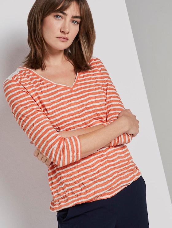 Gestreiftes T-Shirt - Frauen - melon offwhite stripe - 5 - TOM TAILOR
