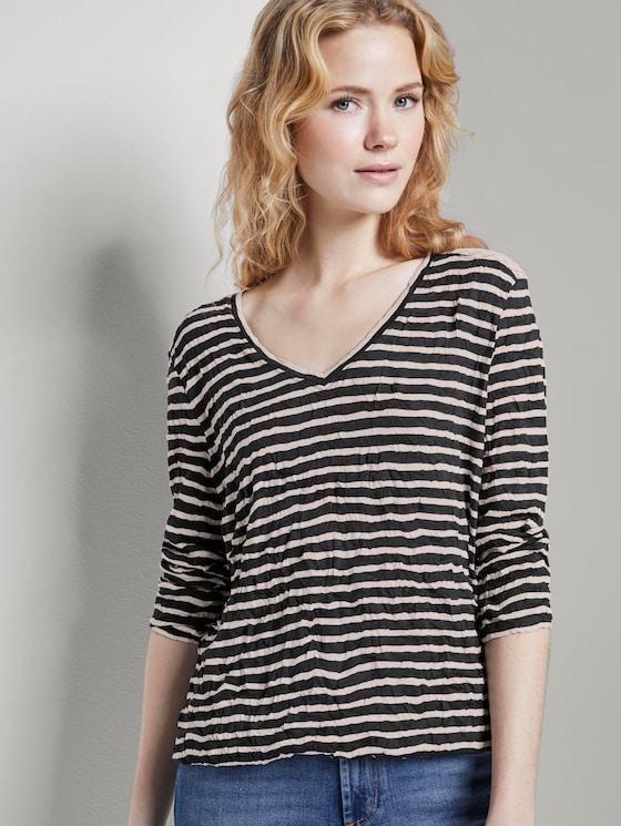 Striped T-shirt - Women - navy offwhite stripe - 5 - TOM TAILOR