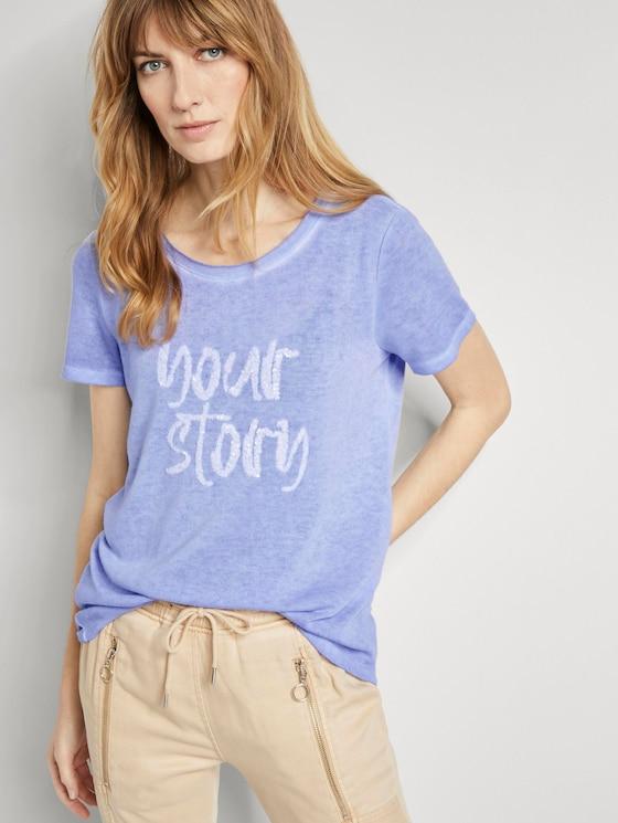 T-shirt with a letter print - Women - Parisienne Blue - 5 - TOM TAILOR