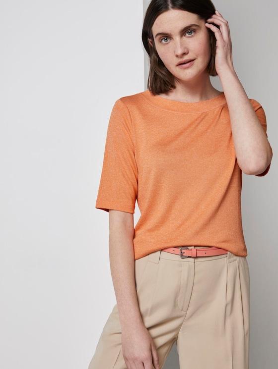 Meliertes T-Shirt - Frauen - fruity melon melange - 5 - TOM TAILOR