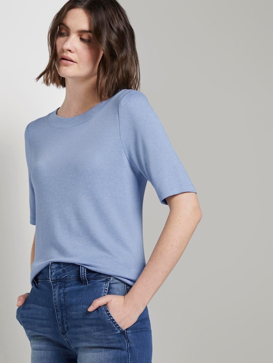 Meliertes T-Shirt - Frauen - parisienne blue melange - 5 - TOM TAILOR