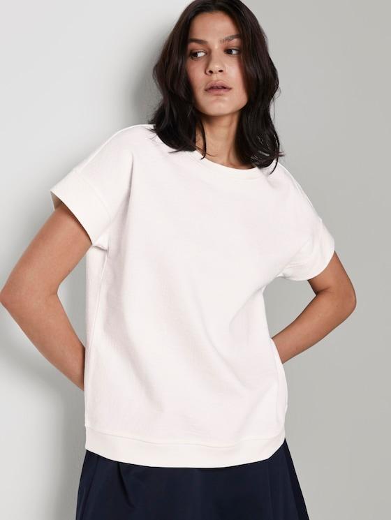 Strukturiertes T-Shirt - Frauen - Whisper White - 5 - TOM TAILOR