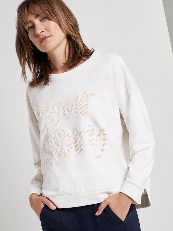 Sweatshirt mit Schrift-Print - Frauen - Whisper White - 5 - TOM TAILOR