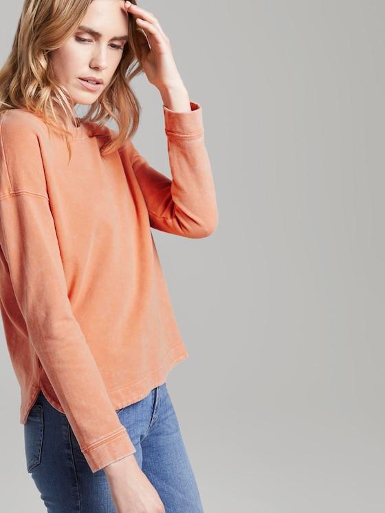 Sweatshirt im Acid Washed-Look - Frauen - fruity melon orange - 5 - TOM TAILOR