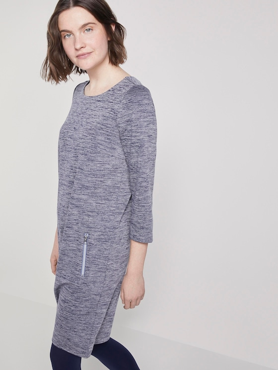 Mini jurk met boothals - Vrouwen - blue chambray structure - 5 - TOM TAILOR