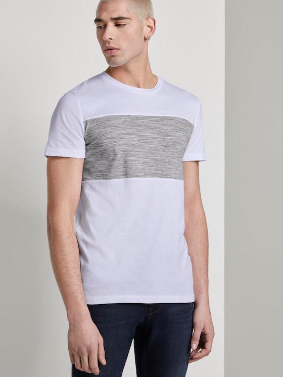 T-Shirt mit Colorblock-Streifen - Männer - White - 5 - TOM TAILOR Denim