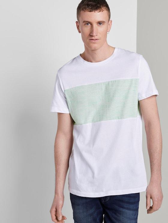 T-Shirt mit Colorblock-Streifen - Männer - soft neo green - 5 - TOM TAILOR Denim