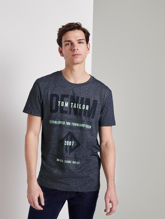 Structured T-shirt with a print - Men - Sky Captain Blue Non-Solid - 5 - TOM TAILOR Denim