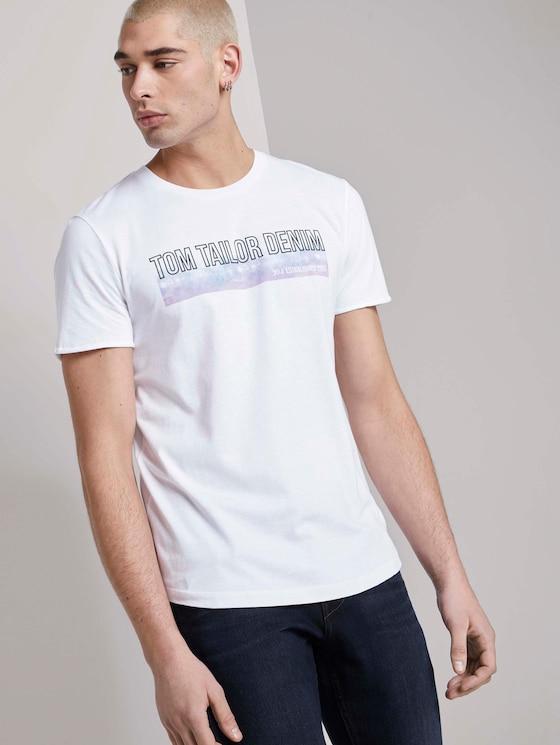 T-Shirt mit Batik-Print - Männer - White - 5 - TOM TAILOR Denim
