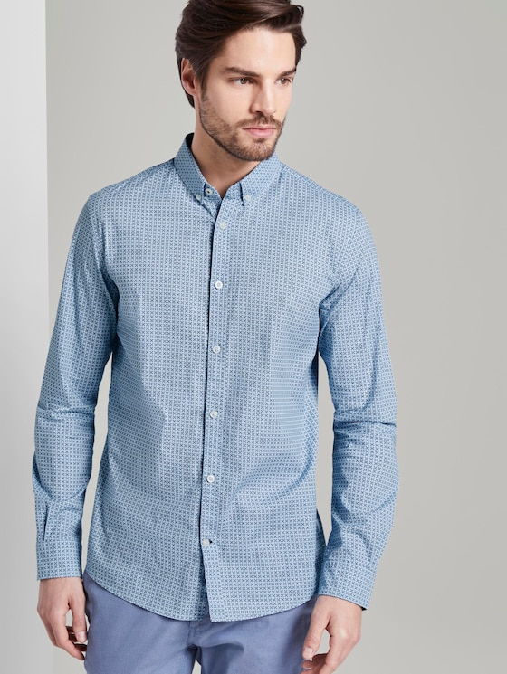 Gemustertes Hemd - Männer - light blue geometric design - 5 - TOM TAILOR