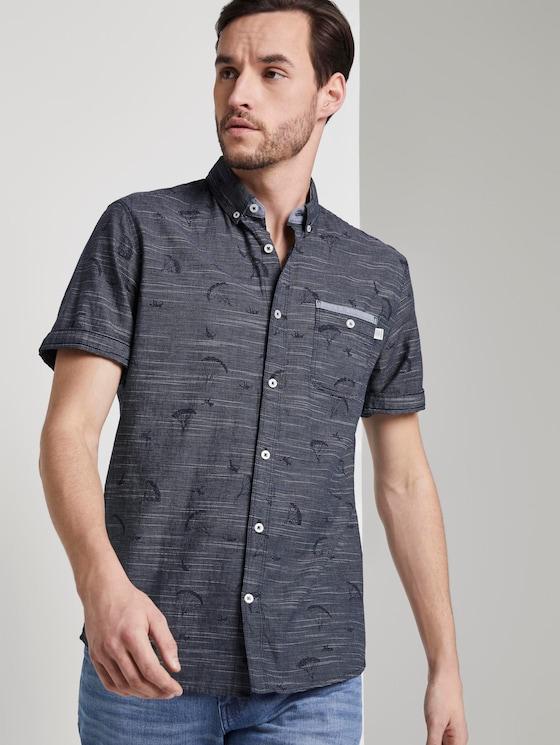 Fine striped short-sleeved shirt - Men - navy parachute design - 5 - TOM TAILOR