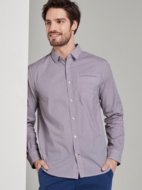 Patterned shirt - Men - white red geometrical design - 5 - TOM TAILOR